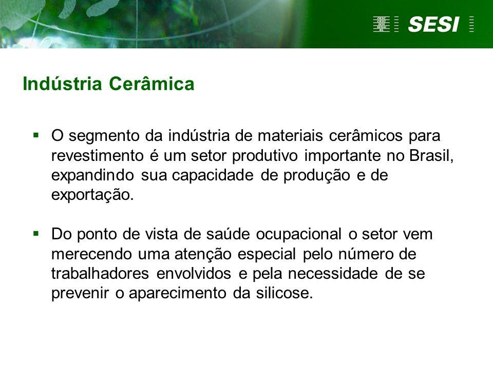 Indústria Cerâmica O segmento da indústria de materiais cerâmicos para revestimento é um setor produtivo importante no Brasil, expandindo sua capacida