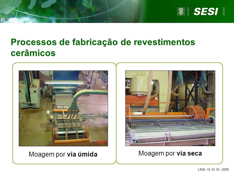 Moagem por via úmida Processos de fabricação de revestimentos cerâmicos Moagem por via seca LIMA, M. M. M., 2008.