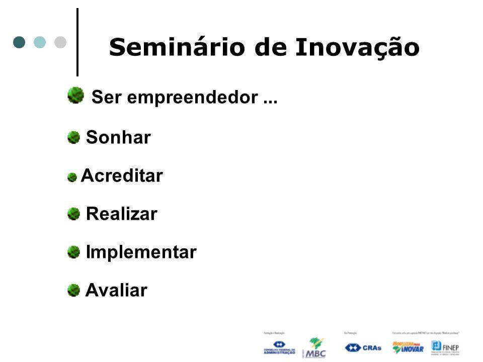Seminário de Inovação Ser empreendedor... Sonhar Acreditar Realizar Implementar Avaliar