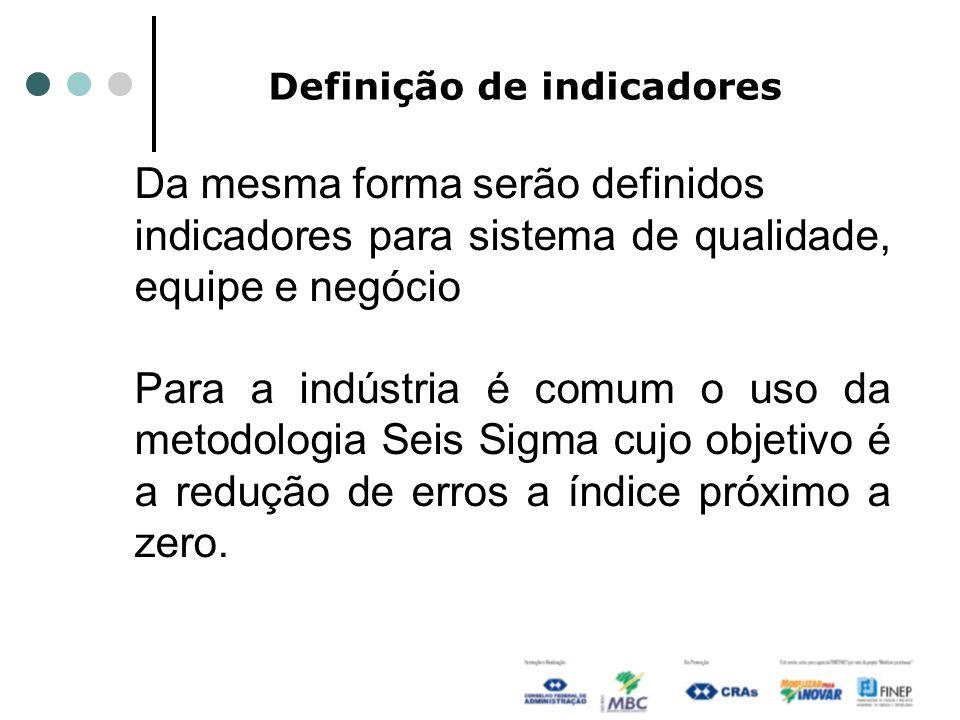 Definição de indicadores Da mesma forma serão definidos indicadores para sistema de qualidade, equipe e negócio Para a indústria é comum o uso da metodologia Seis Sigma cujo objetivo é a redução de erros a índice próximo a zero.