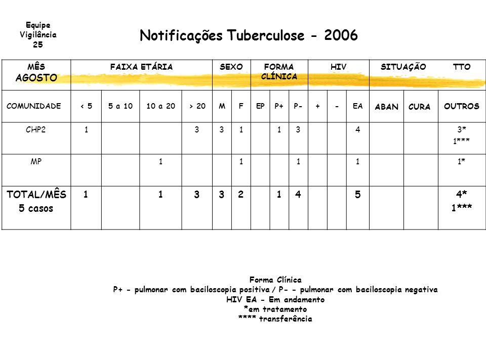 Notificações Tuberculose - 2006 MÊS AGOSTO FAIXA ETÁRIASEXOFORMA CLÍNICA HIVSITUAÇÃOTTO COMUNIDADE< 55 a 1010 a 20> 20MFEPP+P-+-EA ABANCURA OUTROS CHP