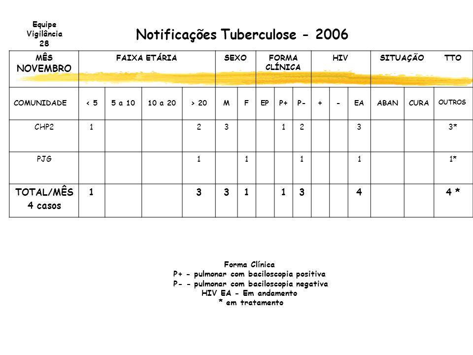 Notificações Tuberculose - 2006 MÊS NOVEMBRO FAIXA ETÁRIASEXOFORMA CLÍNICA HIVSITUAÇÃOTTO COMUNIDADE< 55 a 1010 a 20> 20MFEPP+P-+-EAABANCURA OUTROS CH