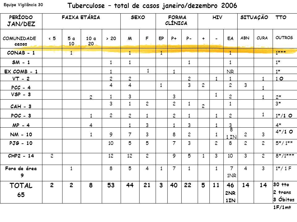 Equipe Vigilância 30 Tuberculose – total de casos janeiro/dezembro 2006 1*/1 O211212 2 1POC - 3 3* 2121 2 1 32322 3131 1313 CAH - 3 1 22 3 44 PCC - 4