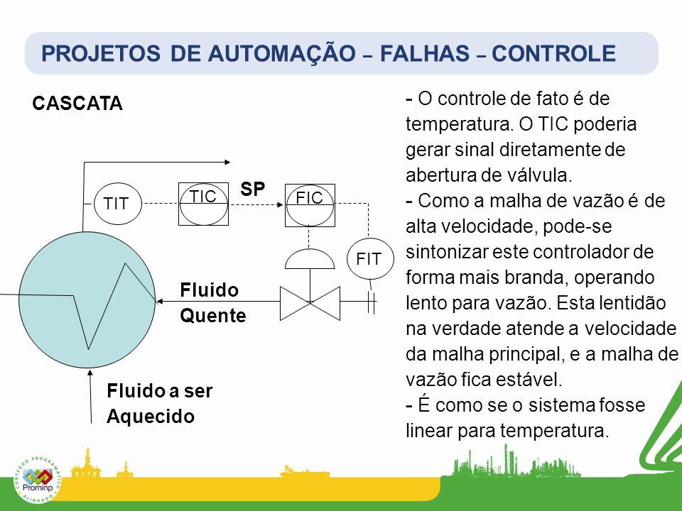 PROJETOS DE AUTOMAÇÃO – FALHAS – CONTROLE CASCATA TIC FIC Fluido Quente Fluido a ser Aquecido TIT SP - O controle de fato é de temperatura. O TIC pode