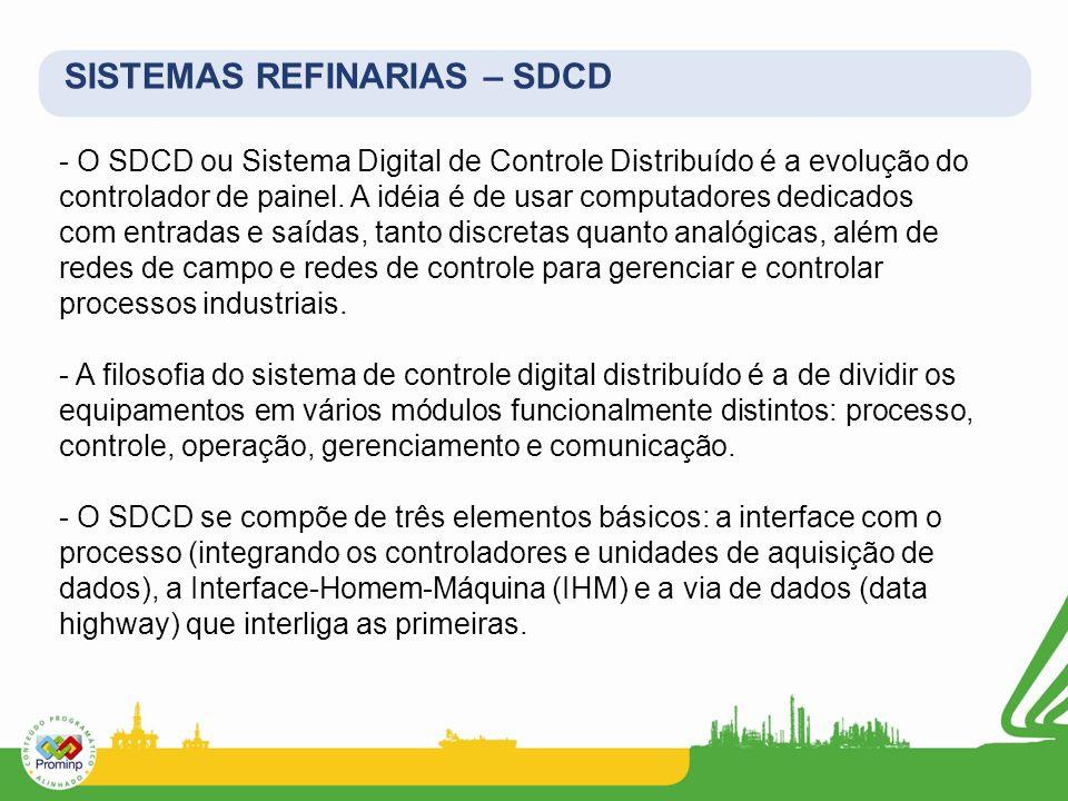 - O SDCD ou Sistema Digital de Controle Distribuído é a evolução do controlador de painel. A idéia é de usar computadores dedicados com entradas e saí
