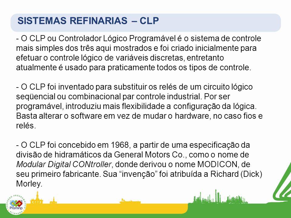- O CLP ou Controlador Lógico Programável é o sistema de controle mais simples dos três aqui mostrados e foi criado inicialmente para efetuar o contro