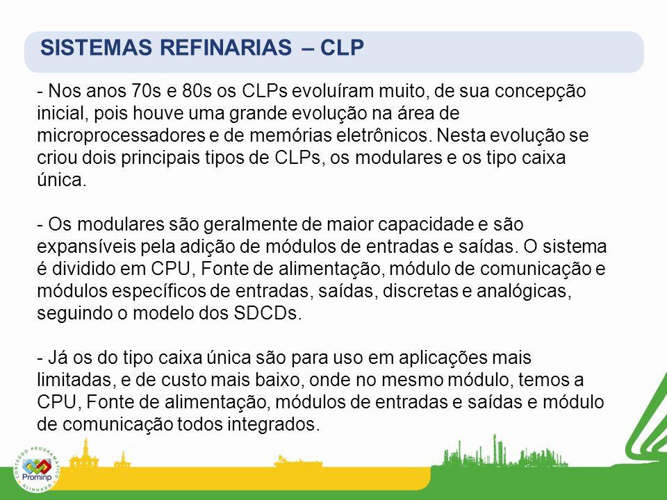 - Nos anos 70s e 80s os CLPs evoluíram muito, de sua concepção inicial, pois houve uma grande evolução na área de microprocessadores e de memórias ele