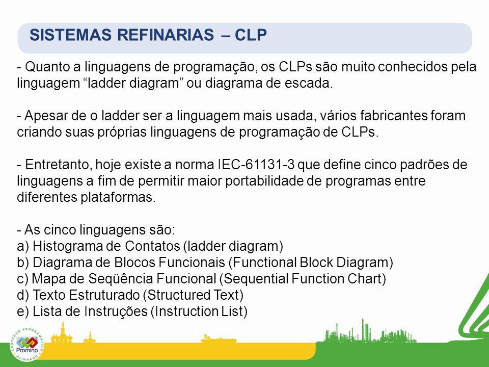 - Quanto a linguagens de programação, os CLPs são muito conhecidos pela linguagem ladder diagram ou diagrama de escada. - Apesar de o ladder ser a lin