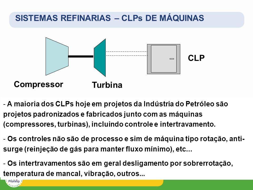 SISTEMAS REFINARIAS – CLPs DE MÁQUINAS Compressor - A maioria dos CLPs hoje em projetos da Indústria do Petróleo são projetos padronizados e fabricado