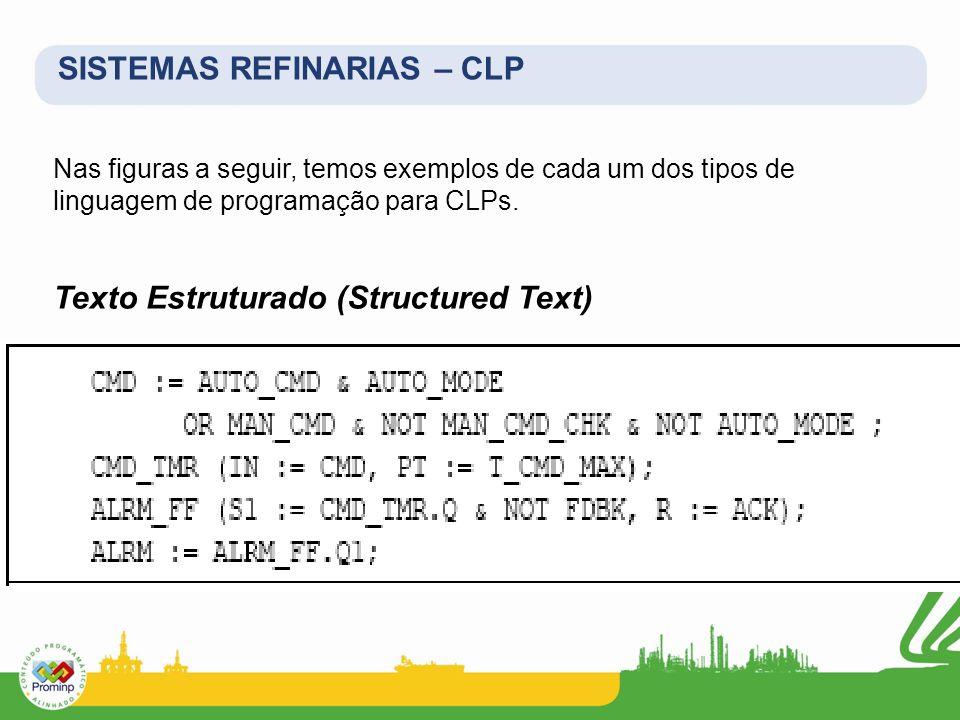 Nas figuras a seguir, temos exemplos de cada um dos tipos de linguagem de programação para CLPs. Texto Estruturado (Structured Text) SISTEMAS REFINARI