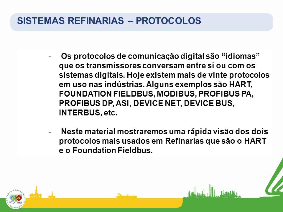 SISTEMAS REFINARIAS – PROTOCOLOS - Os protocolos de comunicação digital são idiomas que os transmissores conversam entre si ou com os sistemas digitai