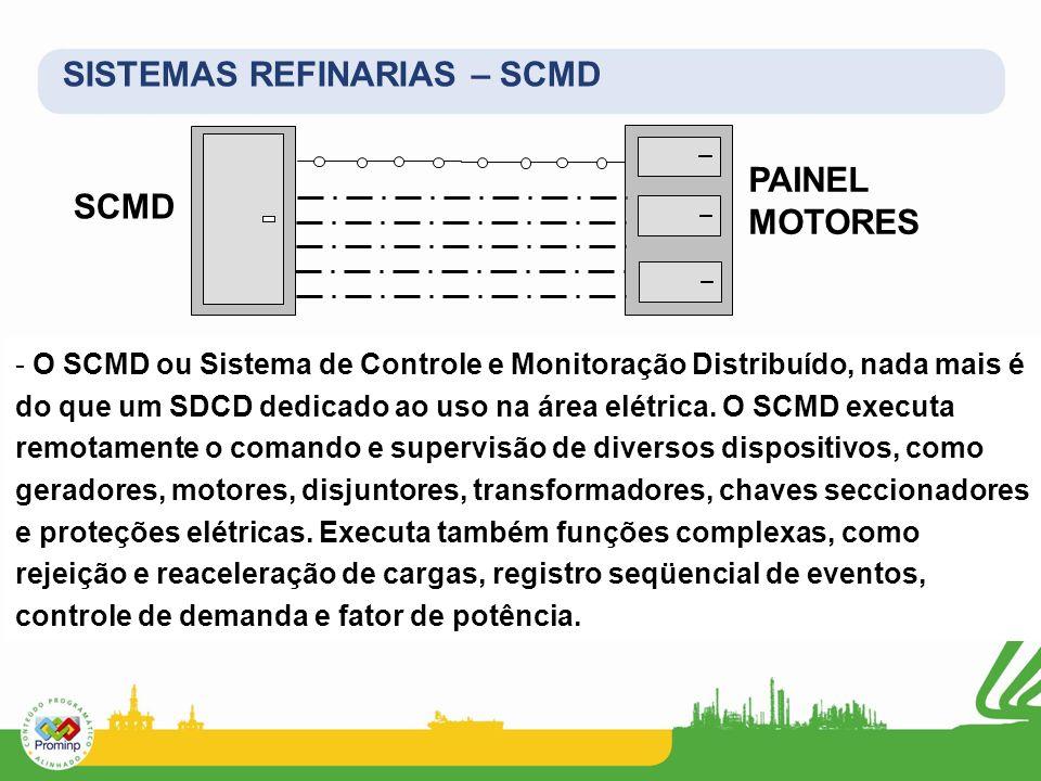 SISTEMAS REFINARIAS – SCMD - O SCMD ou Sistema de Controle e Monitoração Distribuído, nada mais é do que um SDCD dedicado ao uso na área elétrica. O S