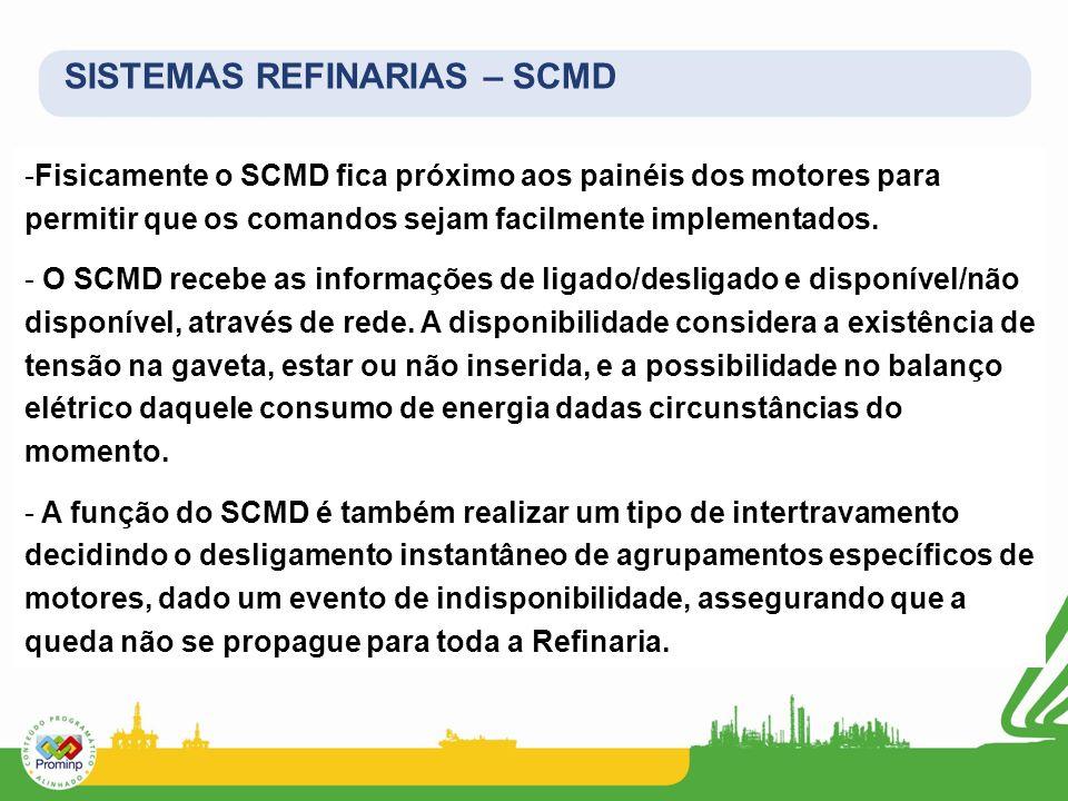 SISTEMAS REFINARIAS – SCMD -Fisicamente o SCMD fica próximo aos painéis dos motores para permitir que os comandos sejam facilmente implementados. - O