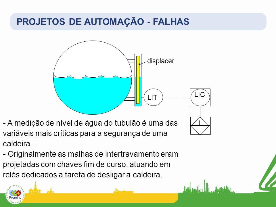 PROJETOS DE AUTOMAÇÃO - FALHAS displacer LIT LIC I - A medição de nível de água do tubulão é uma das variáveis mais críticas para a segurança de uma c