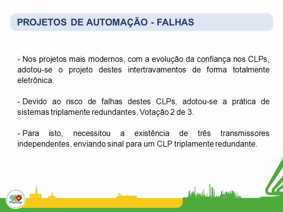 PROJETOS DE AUTOMAÇÃO - FALHAS - Nos projetos mais modernos, com a evolução da confiança nos CLPs, adotou-se o projeto destes intertravamentos de form