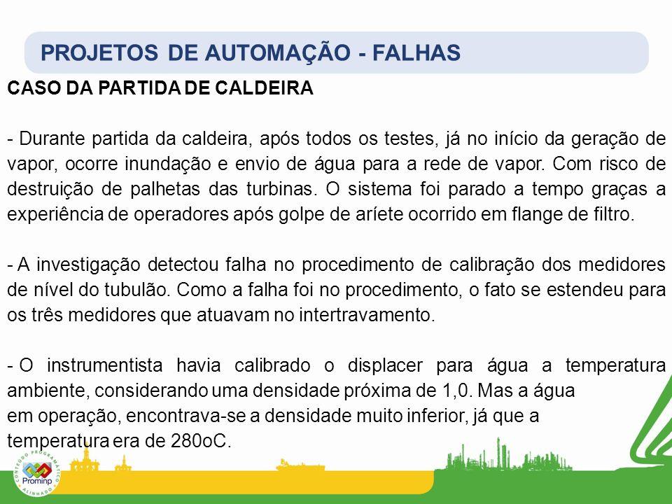 PROJETOS DE AUTOMAÇÃO - FALHAS CASO DA PARTIDA DE CALDEIRA - Durante partida da caldeira, após todos os testes, já no início da geração de vapor, ocor