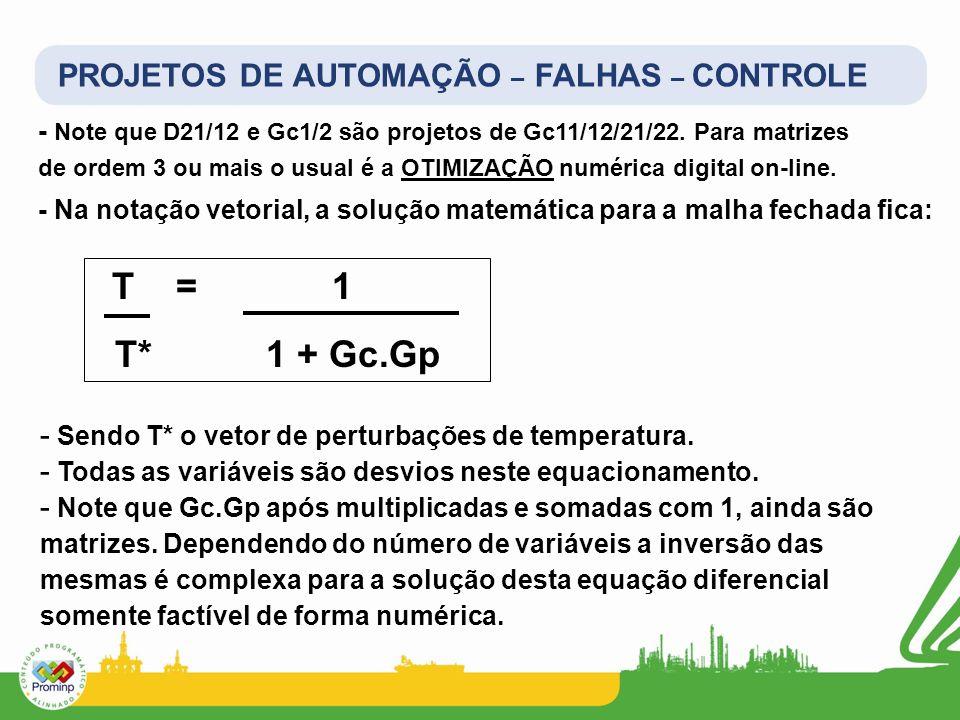 PROJETOS DE AUTOMAÇÃO – FALHAS – CONTROLE - Na notação vetorial, a solução matemática para a malha fechada fica: - Note que D21/12 e Gc1/2 são projeto