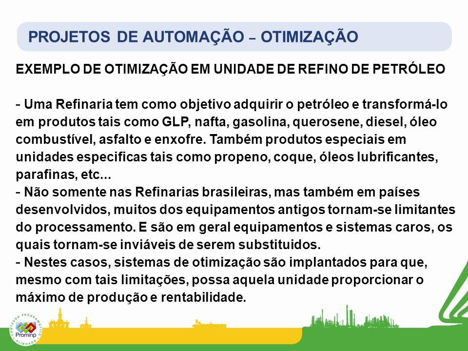 PROJETOS DE AUTOMAÇÃO – OTIMIZAÇÃO EXEMPLO DE OTIMIZAÇÃO EM UNIDADE DE REFINO DE PETRÓLEO - Uma Refinaria tem como objetivo adquirir o petróleo e tran