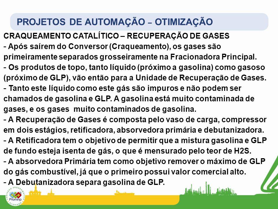 PROJETOS DE AUTOMAÇÃO – OTIMIZAÇÃO CRAQUEAMENTO CATALÍTICO – RECUPERAÇÃO DE GASES - Após saírem do Conversor (Craqueamento), os gases são primeirament