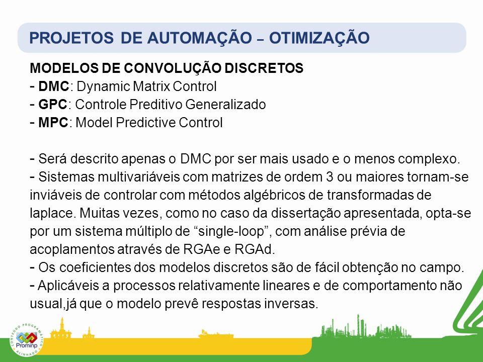 PROJETOS DE AUTOMAÇÃO – OTIMIZAÇÃO MODELOS DE CONVOLUÇÃO DISCRETOS - DMC: Dynamic Matrix Control - GPC: Controle Preditivo Generalizado - MPC: Model P