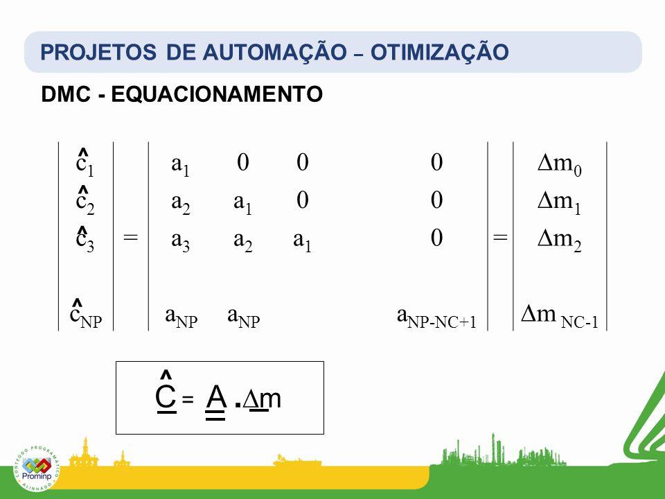 PROJETOS DE AUTOMAÇÃO – OTIMIZAÇÃO DMC - EQUACIONAMENTO c1c1 a1a1 000m0m0 c2c2 a2a2 a1a1 00m1m1 c3c3 =a3a3 a2a2 a1a1 0=m2m2 c NP a NP a NP-NC+1 m NC-1