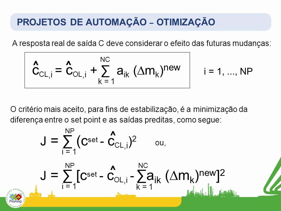 PROJETOS DE AUTOMAÇÃO – OTIMIZAÇÃO A resposta real de saída C deve considerar o efeito das futuras mudanças: c CL,i = c OL,i + a ik (m k ) new i = 1,.