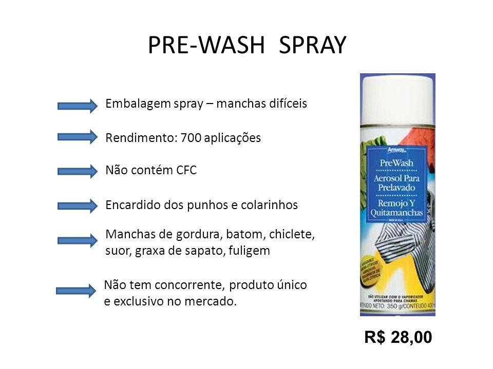 PRE-WASH SPRAY Embalagem spray – manchas difíceis Rendimento: 700 aplicações Não contém CFC Encardido dos punhos e colarinhos Manchas de gordura, bato