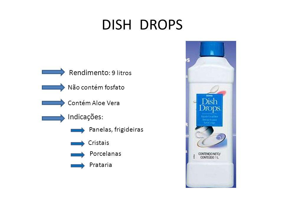 DISH DROPS Rendimento : 9 litros Não contém fosfato Contém Aloe Vera Indicações : Panelas, frigideiras Cristais Porcelanas Prataria
