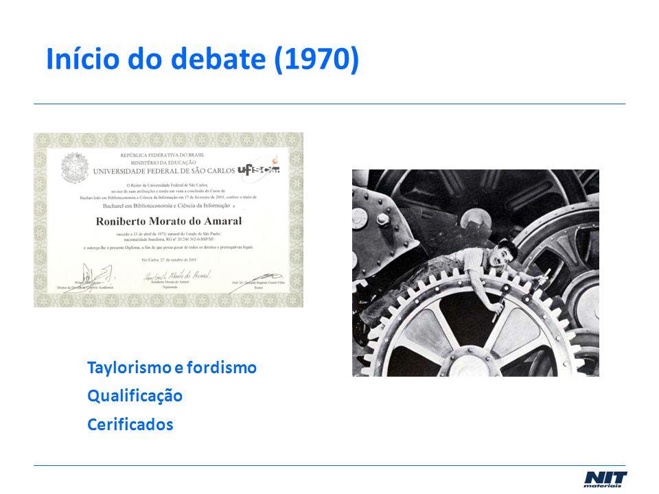 Taylorismo e fordismo Qualificação Cerificados Início do debate (1970)