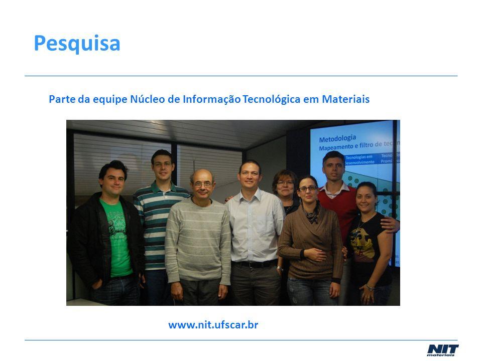 Pesquisa Parte da equipe Núcleo de Informação Tecnológica em Materiais www.nit.ufscar.br