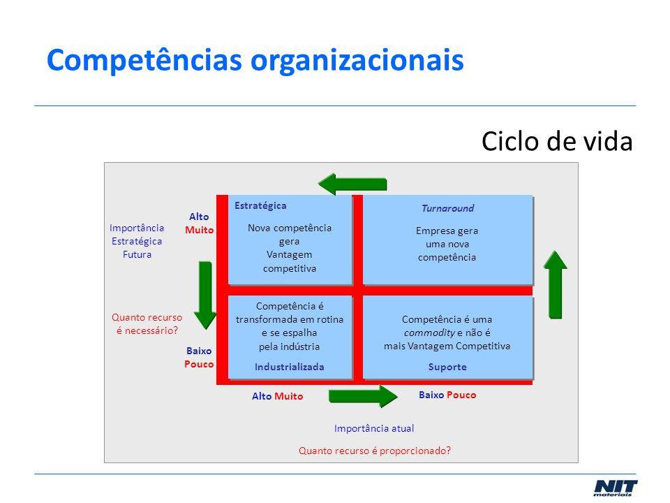 Estratégica Nova competência gera Vantagem competitiva Empresa gera uma nova competência Competência é transformada em rotina e se espalha pela indúst