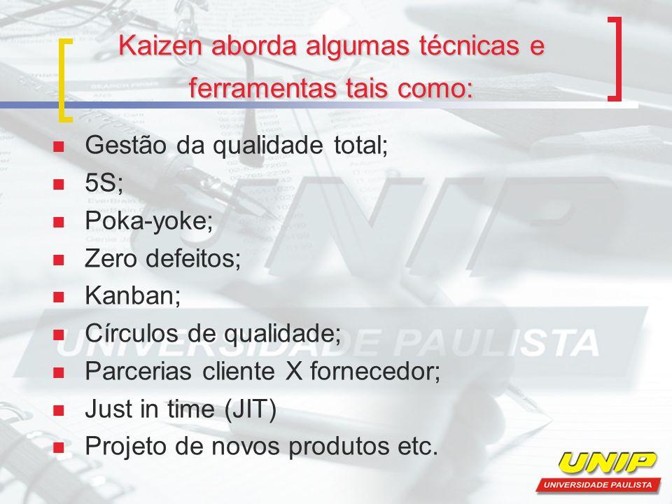 Kaizen aborda algumas técnicas e ferramentas tais como: Gestão da qualidade total; 5S; Poka-yoke; Zero defeitos; Kanban; Círculos de qualidade; Parcer