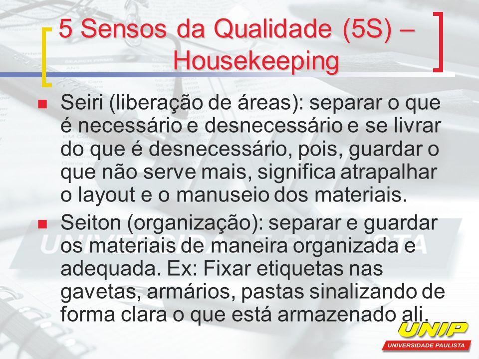 5 Sensos da Qualidade (5S) – Housekeeping Seiri (liberação de áreas): separar o que é necessário e desnecessário e se livrar do que é desnecessário, p