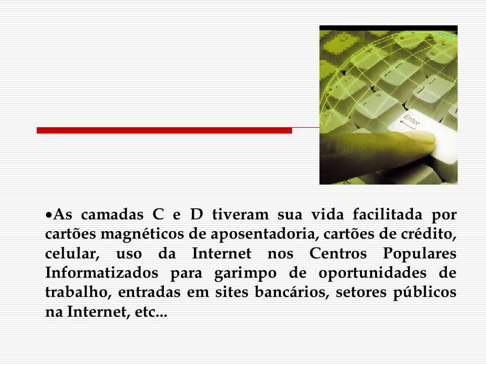 As camadas C e D tiveram sua vida facilitada por cartões magnéticos de aposentadoria, cartões de crédito, celular, uso da Internet nos Centros Popular
