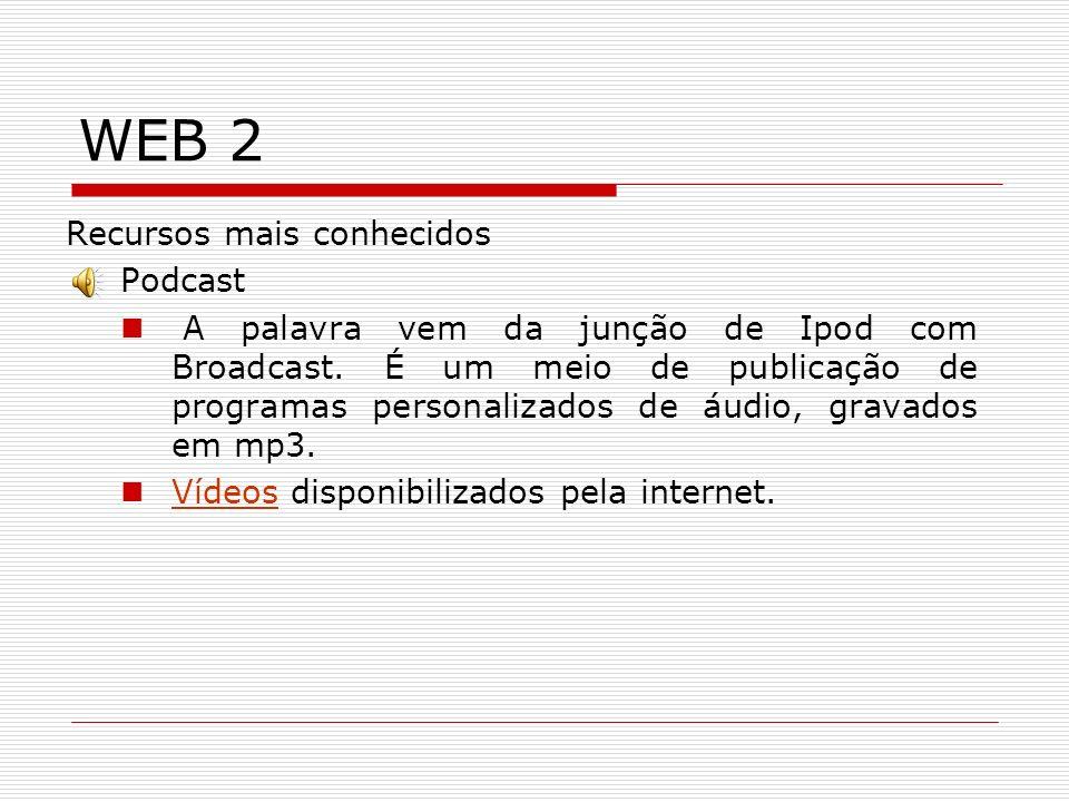 WEB 2 Recursos mais conhecidos Podcast A palavra vem da junção de Ipod com Broadcast. É um meio de publicação de programas personalizados de áudio, gr