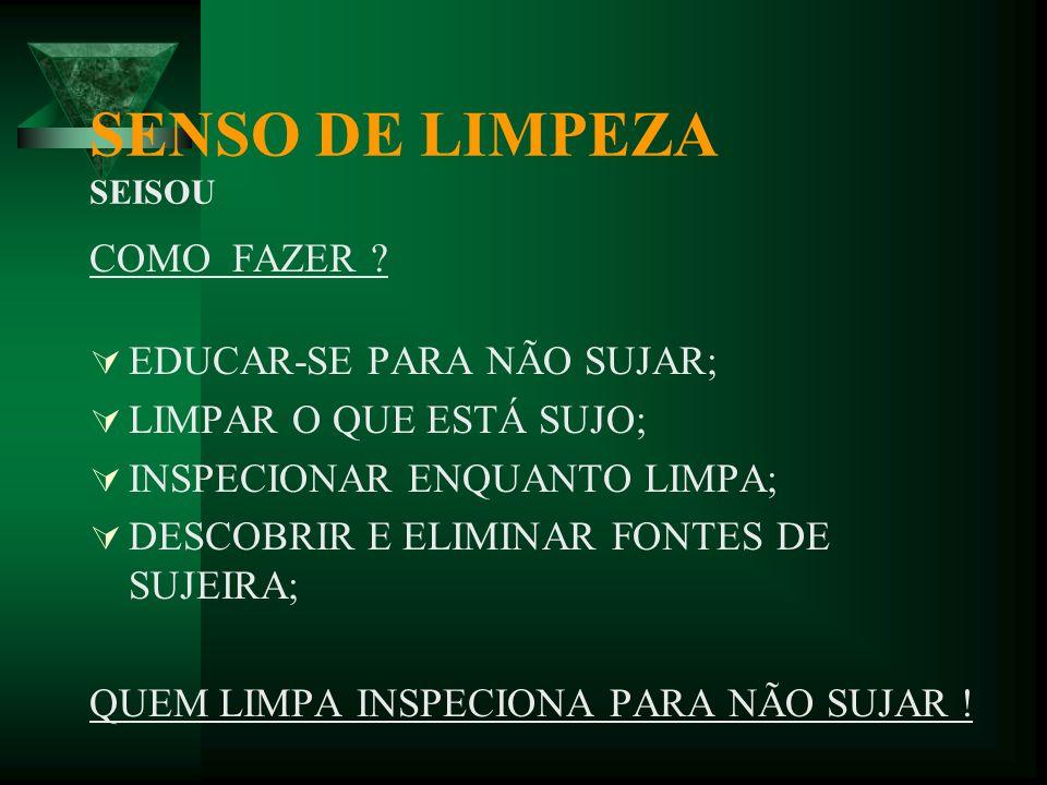 SENSO DE LIMPEZA SEISOU SENTIDO ADOTADO: EDUCAR PARA NÃO SUJAR ! AS PESSOAS MERECEM O MELHOR AMBIENTE POSSÍVEL. MAIS IMPORTANTE QUE LIMPAR É NÃO SUJAR