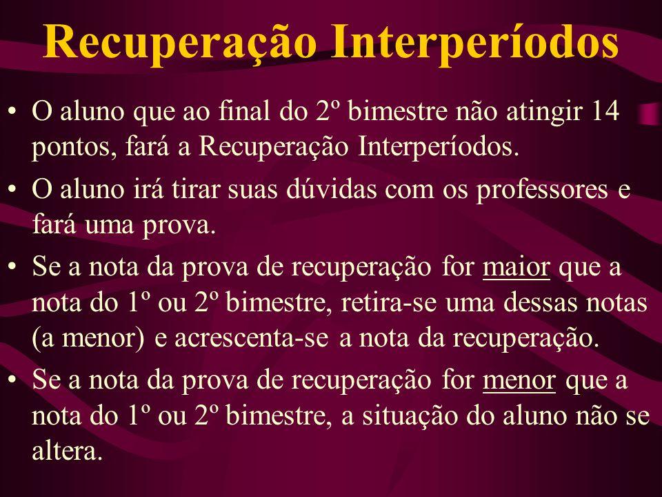 Recuperação Interperíodos O aluno que ao final do 2º bimestre não atingir 14 pontos, fará a Recuperação Interperíodos. O aluno irá tirar suas dúvidas
