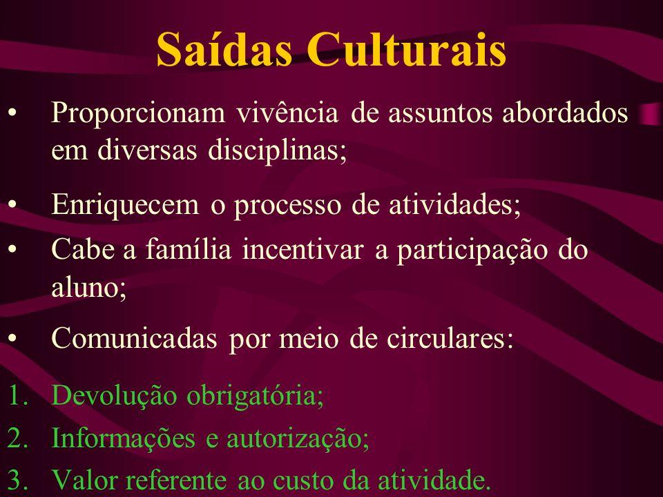 Saídas Culturais Proporcionam vivência de assuntos abordados em diversas disciplinas; Enriquecem o processo de atividades; Cabe a família incentivar a