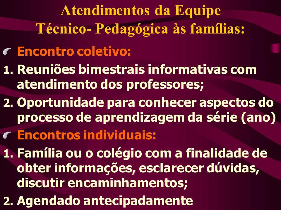 Atendimentos da Equipe Técnico- Pedagógica às famílias: Encontro coletivo: 1. Reuniões bimestrais informativas com atendimento dos professores; 2. Opo