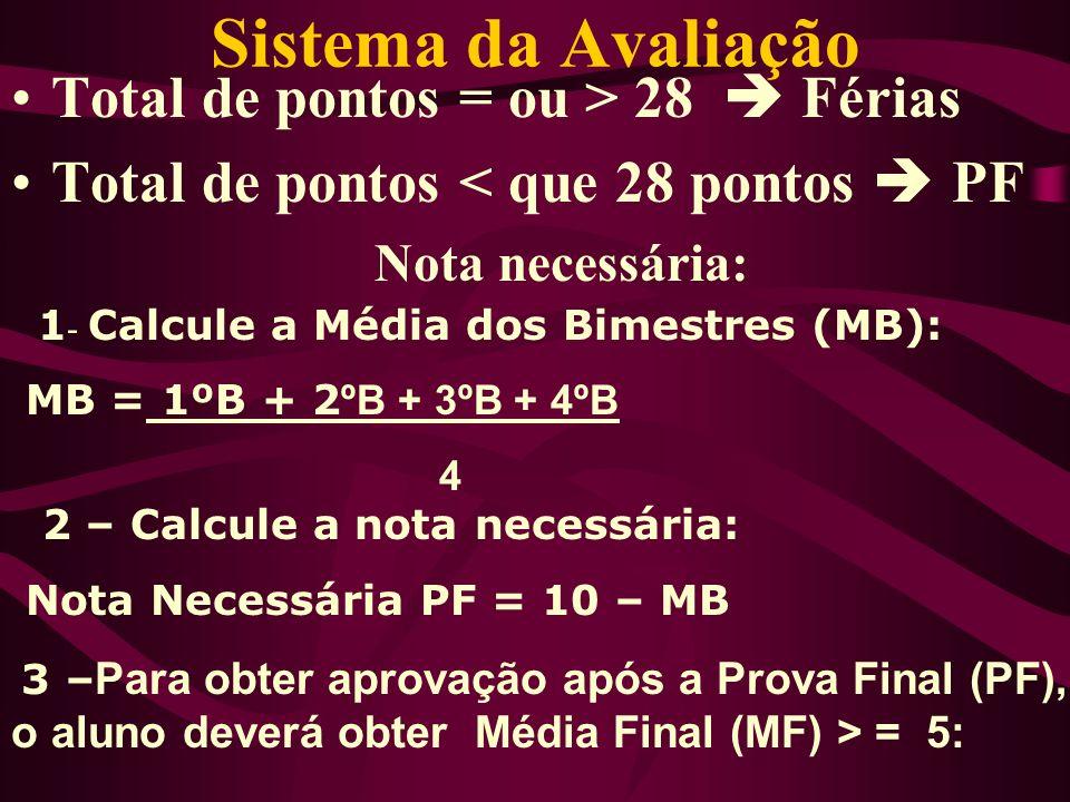 Total de pontos = ou > 28 Férias Total de pontos < que 28 pontos PF Nota necessária: Sistema da Avaliação 1 - Calcule a Média dos Bimestres (MB): MB =