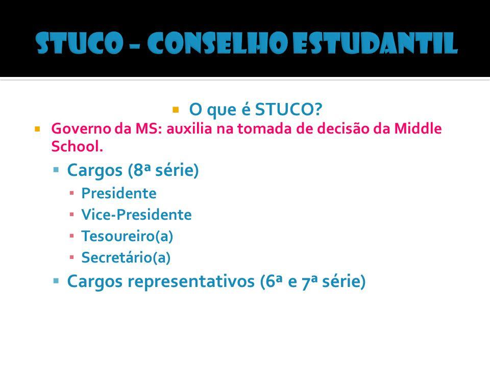 O que é STUCO. Governo da MS: auxilia na tomada de decisão da Middle School.