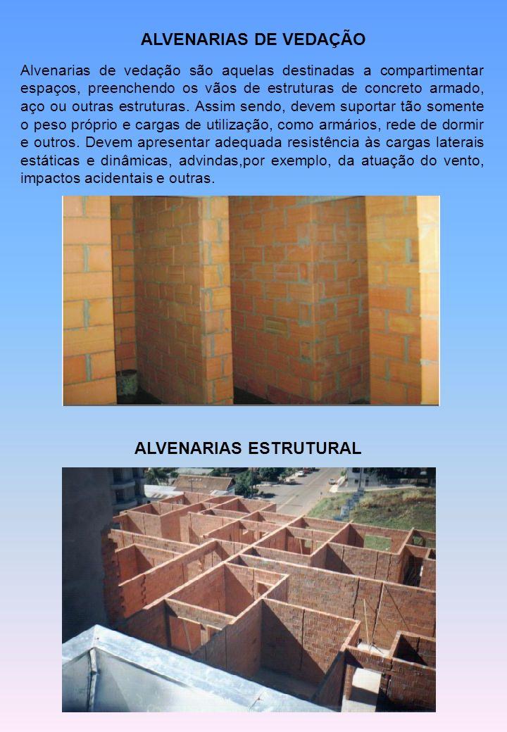 ALVENARIAS DE VEDAÇÃO Alvenarias de vedação são aquelas destinadas a compartimentar espaços, preenchendo os vãos de estruturas de concreto armado, aço ou outras estruturas.