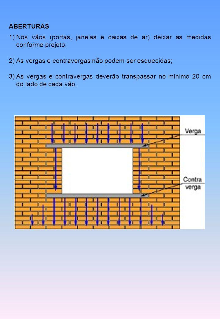 1)Nos vãos (portas, janelas e caixas de ar) deixar as medidas conforme projeto; 2)As vergas e contravergas não podem ser esquecidas; 3)As vergas e contravergas deverão transpassar no mínimo 20 cm do lado de cada vão.
