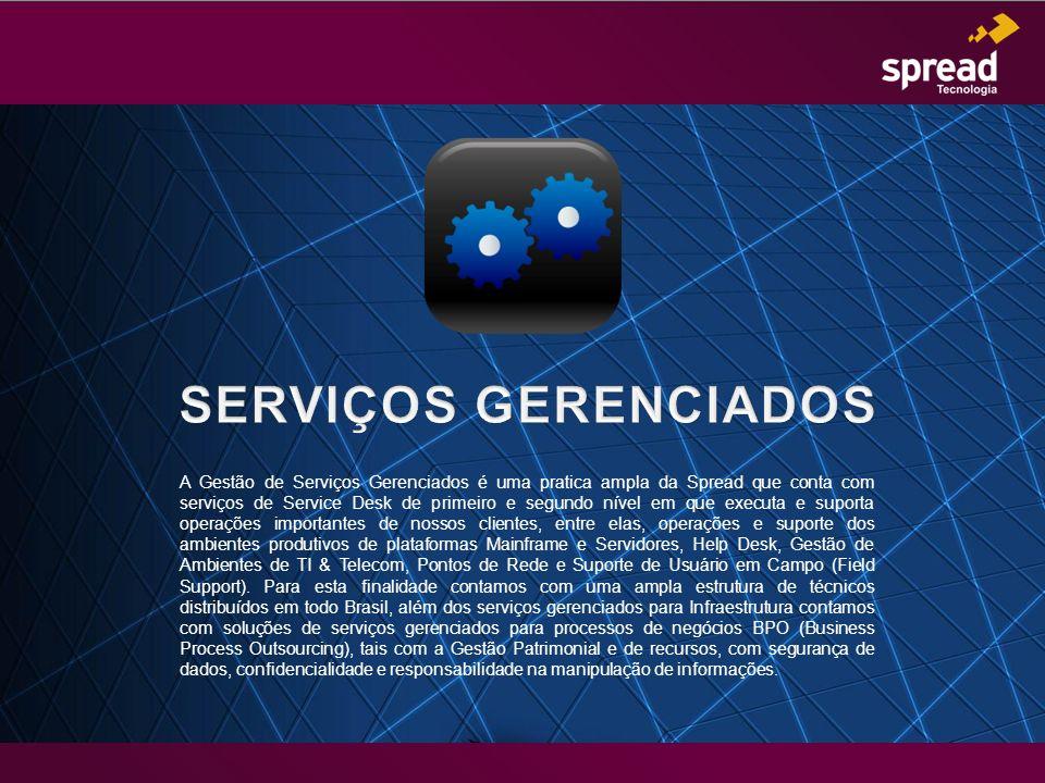 A Gestão de Serviços Gerenciados é uma pratica ampla da Spread que conta com serviços de Service Desk de primeiro e segundo nível em que executa e sup