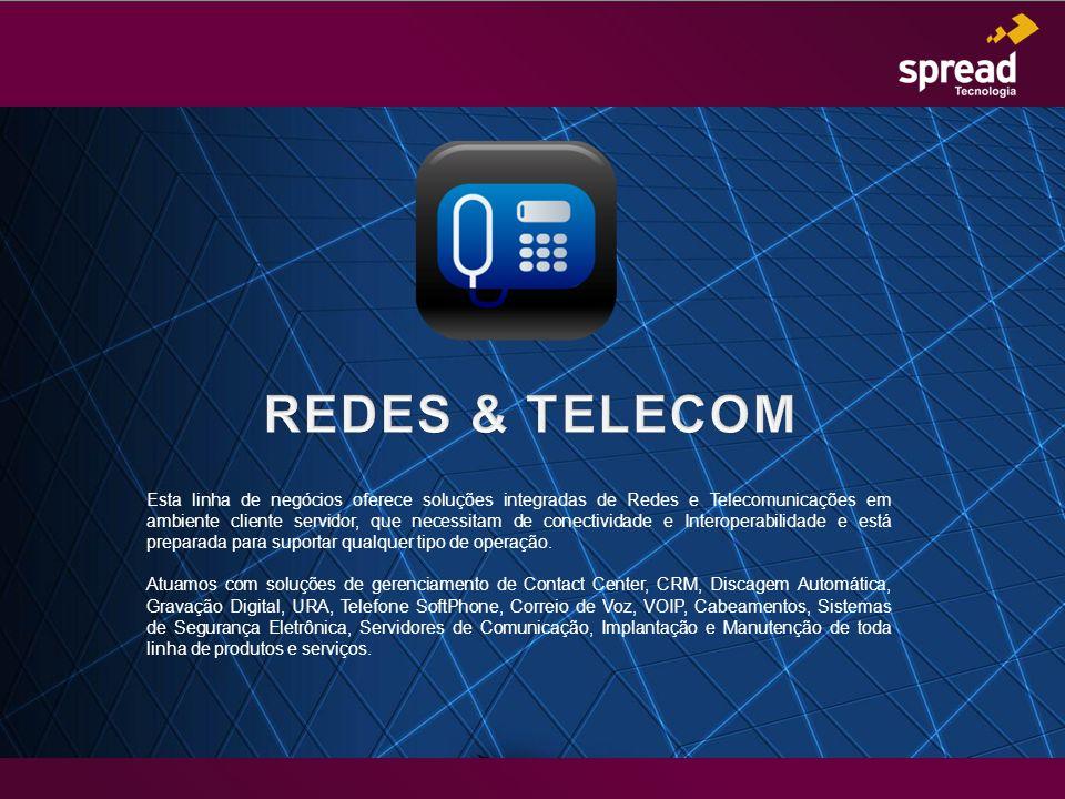 Esta linha de negócios oferece soluções integradas de Redes e Telecomunicações em ambiente cliente servidor, que necessitam de conectividade e Interop