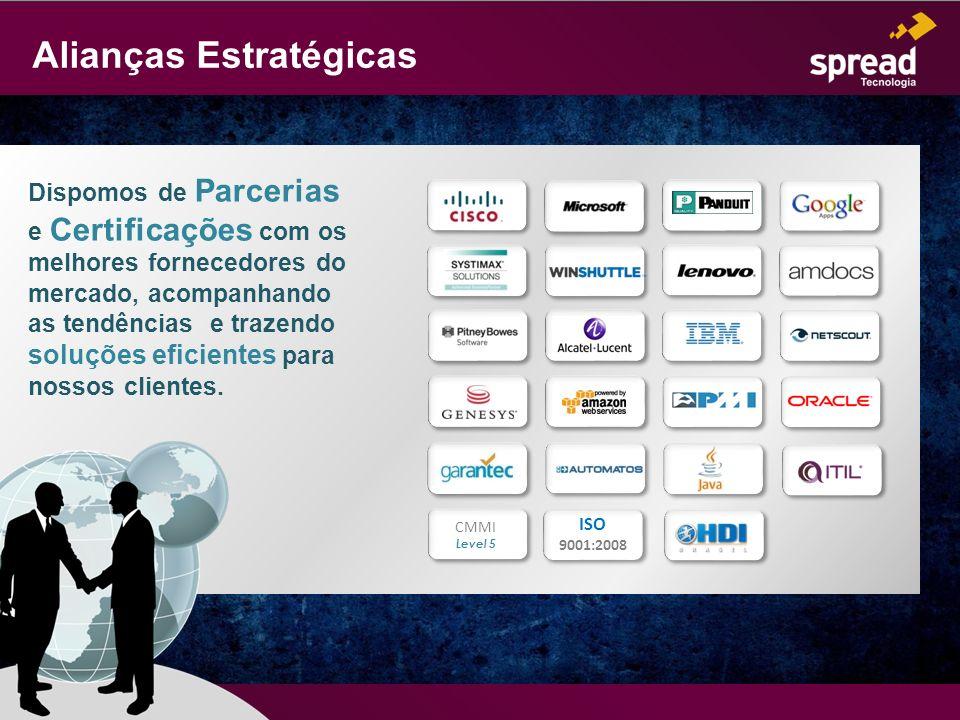 Alianças Estratégicas Dispomos de Parcerias e Certificações com os melhores fornecedores do mercado, acompanhando as tendências e trazendo soluções ef
