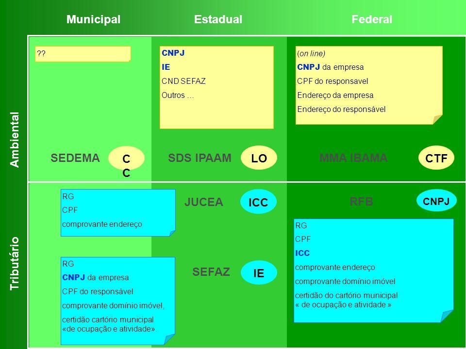 RG CPF ICC comprovante endereço comprovante domínio imóvel certidão do cartório municipal « de ocupação e atividade » RG CNPJ da empresa CPF do respon