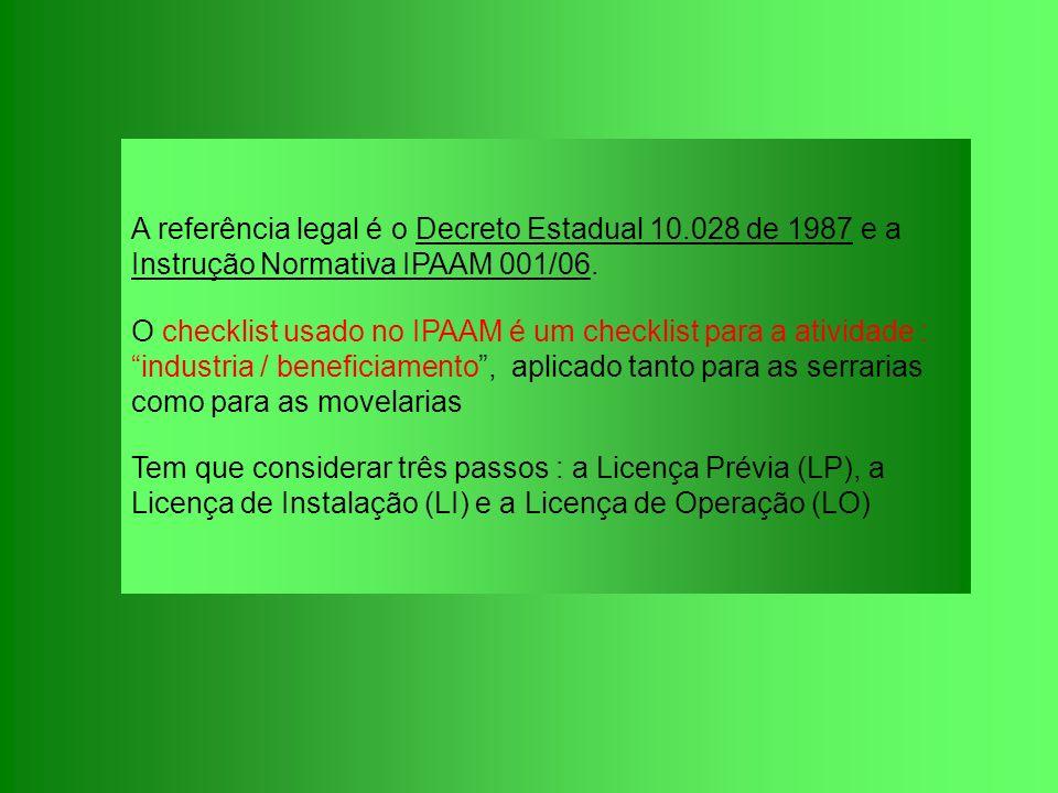 A referência legal é o Decreto Estadual 10.028 de 1987 e a Instrução Normativa IPAAM 001/06. O checklist usado no IPAAM é um checklist para a atividad