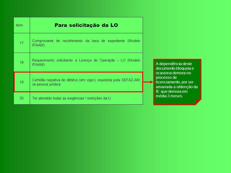 Item Para solicitação da LO 17 Comprovante de recolhimento da taxa de expediente (Modelo IPAAM) 18 Requerimento solicitando a Licença de Operação – LO