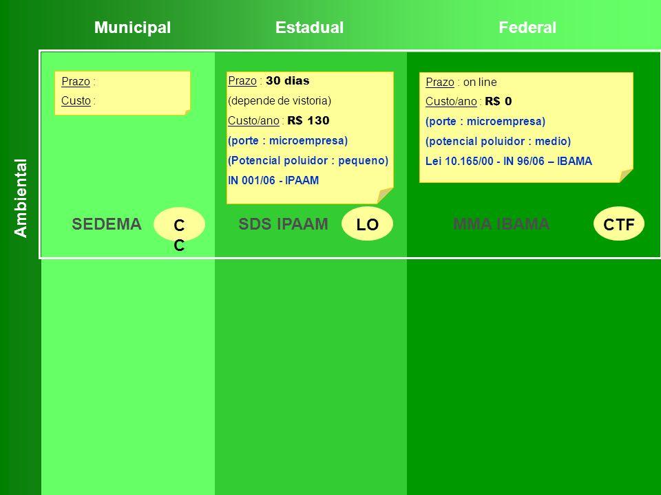 Prazo : on line Custo/ano : R$ 0 (porte : microempresa) (potencial poluidor : medio) Lei 10.165/00 - IN 96/06 – IBAMA Prazo : Custo : Prazo : 30 dias